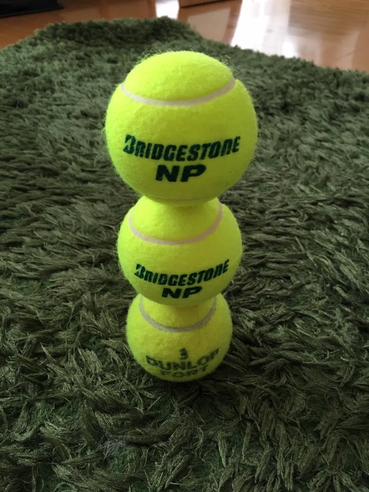 テニスボール3個積み 集中力