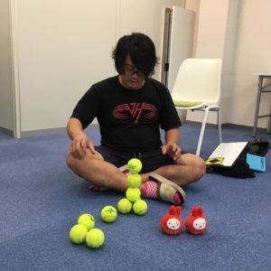 テニスボール3個積み 集中力講座